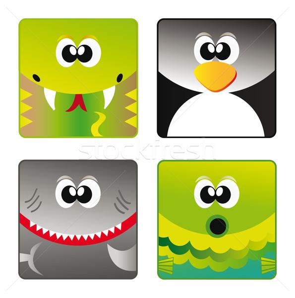 Vadállatok szett ikon rajz boldog állat Stock fotó © X-etra