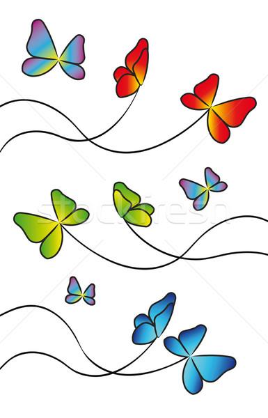 Pillangók terv színes elemek izolált fehér Stock fotó © X-etra