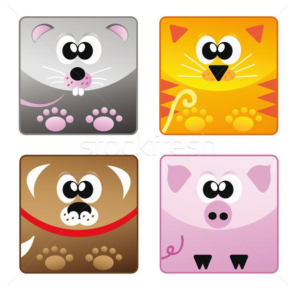 Casa animais conjunto ícone desenho animado feliz Foto stock © X-etra