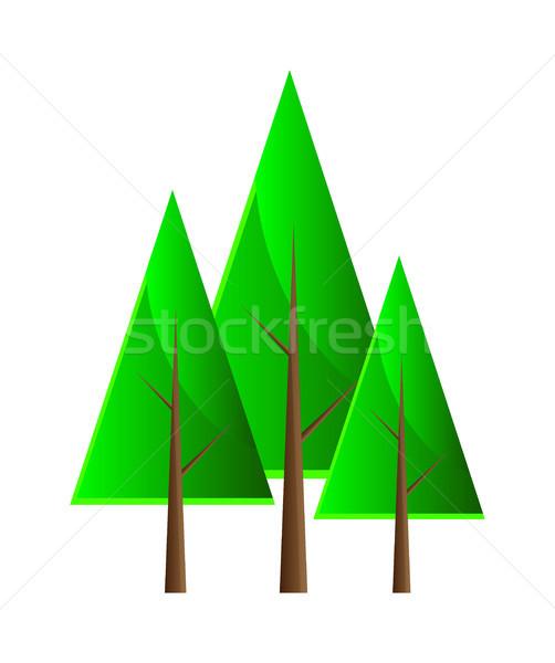 Conjunto vetor árvores isolamento branco primavera Foto stock © X-etra