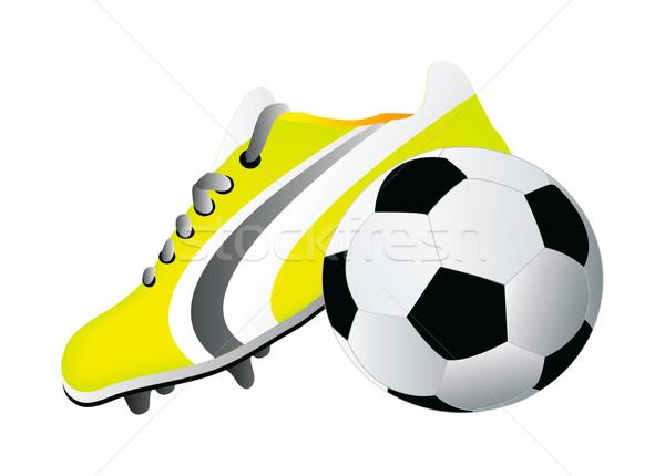 Futball cipő labda izolált fehér háttér Stock fotó © X-etra