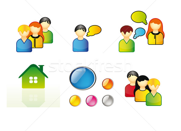 ícones teia conjunto jovens casa ícone Foto stock © X-etra