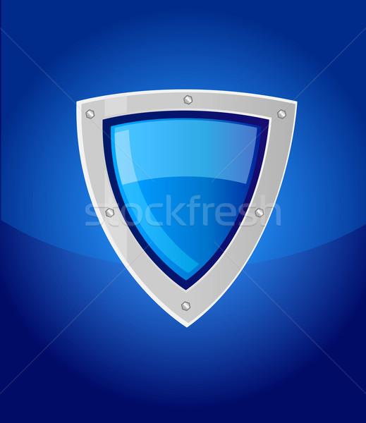 Vetor escudo azul segurança reflexão prata Foto stock © X-etra