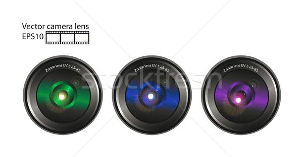 Vektor kameralencse szett film izolált fehér Stock fotó © X-etra