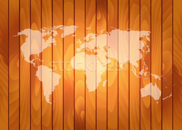 Vektor világtérkép fából készült fal textúra fa Stock fotó © X-etra