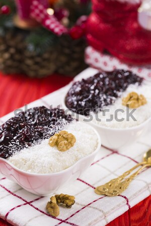 Rice Pudding and Strawberry Jam with Nuts, New Year Decoration i Stock photo © x3mwoman