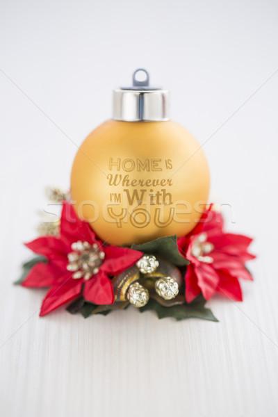 Yılbaşı Noel altın kırmızı dekorasyon ev Stok fotoğraf © x3mwoman