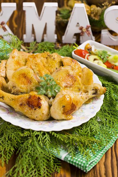 Natal frango assado vermelho quente pimentas azeitonas Foto stock © x3mwoman