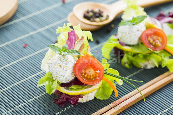 Healthy Rice Canape with Protein Cheese and Cherry Tomato, Sesam Stock photo © x3mwoman