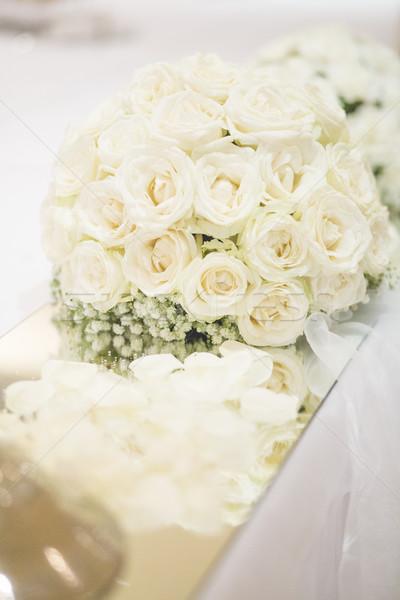 букет белый таблице цветы свадьба красоту Сток-фото © x3mwoman