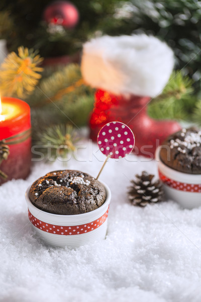 шоколадом свечу рождественская елка снега Сток-фото © x3mwoman