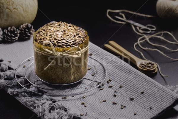 хлеб подсолнечника черный таблице серый ткань Сток-фото © x3mwoman
