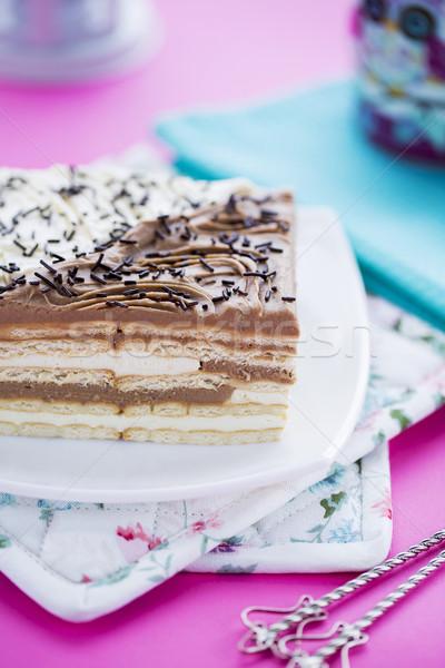Doğum günü pastası tereyağı kurabiye çikolata vanilya Stok fotoğraf © x3mwoman