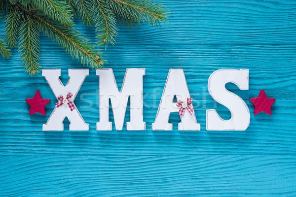 Рождества древесины украшение бирюзовый красный цвета Сток-фото © x3mwoman