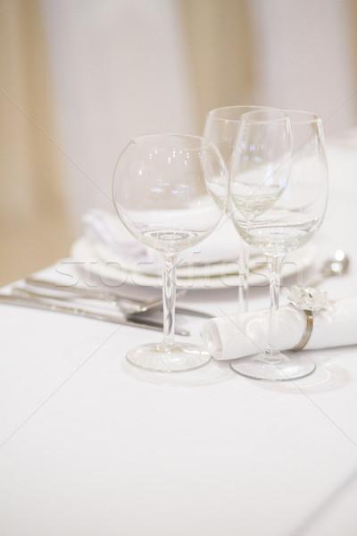 Esküvő egyezség fehér asztal virág szeretet Stock fotó © x3mwoman