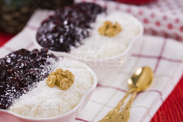 Sütlaç çilek reçel fındık yılbaşı dekorasyon Stok fotoğraf © x3mwoman