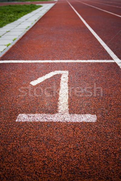 красный белый трек выбора Легкая атлетика Сток-фото © x3mwoman