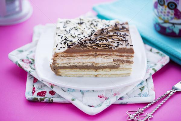 Születésnapi torta vaj sütik csokoládé vanília rétegek Stock fotó © x3mwoman