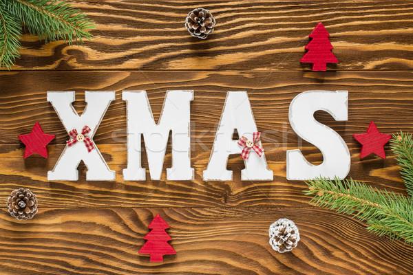 Noel ahşap dekorasyon kahverengi kırmızı renk Stok fotoğraf © x3mwoman
