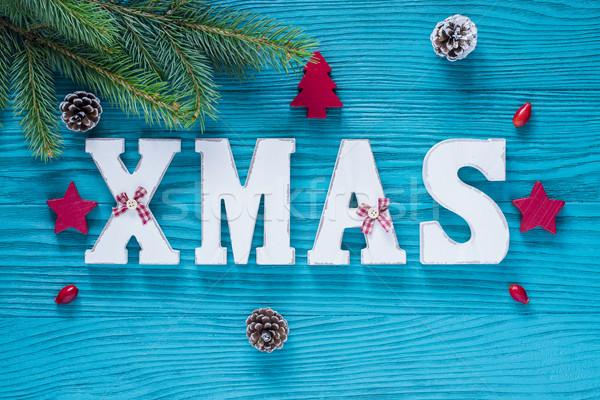 Noel ahşap dekorasyon turkuaz kırmızı renk Stok fotoğraf © x3mwoman