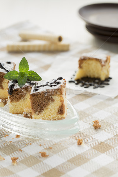 Black and White Cake with Wafer Rolls and Chocolate Topping Stock photo © x3mwoman