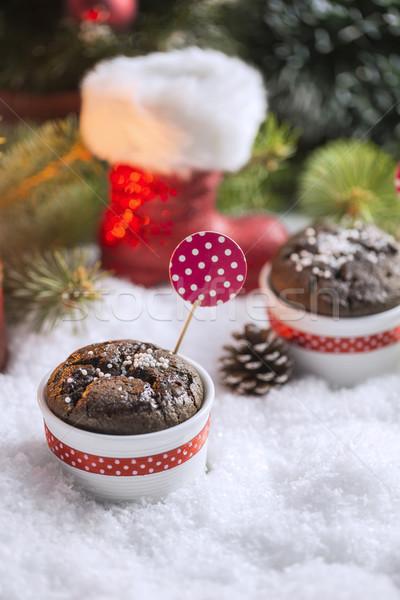 çikolata kar taneleri mum noel ağacı kar Stok fotoğraf © x3mwoman