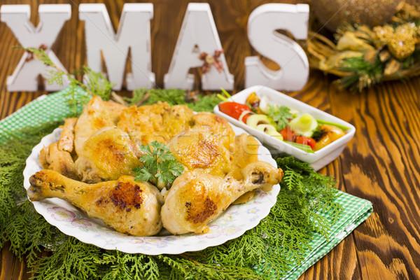 Noel tavuk kızartma kırmızı sıcak zeytin Stok fotoğraf © x3mwoman