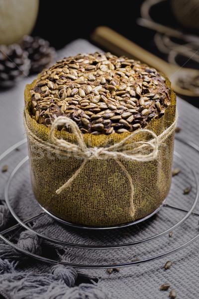 Integral Bread with Sunflower on Black Table, Gray Cloth, Rope a Stock photo © x3mwoman