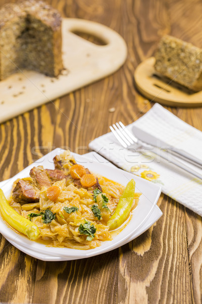 Cooked Cabbage with Carrots, Hot Peppers, Parsley, Integral Sunf Stock photo © x3mwoman