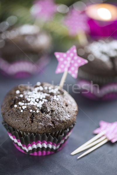 çikolata kar taneleri pembe noel ağacı mum Stok fotoğraf © x3mwoman