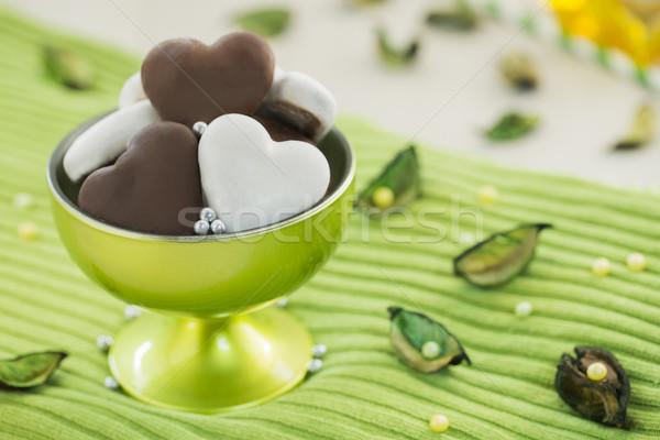 Tatlı kahverengi beyaz bal kalpler yeşil Stok fotoğraf © x3mwoman