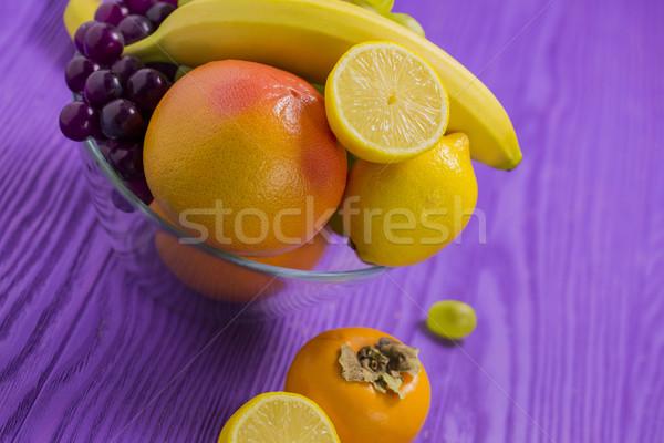 плодов банан грейпфрут лимона темно белый Сток-фото © x3mwoman