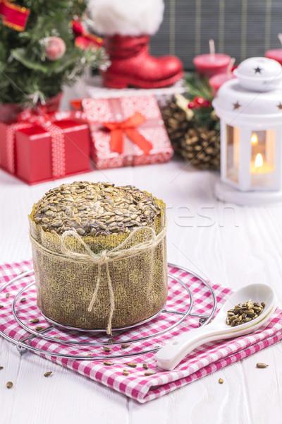 Tournesol pain nouvelle année drap blanche Photo stock © x3mwoman