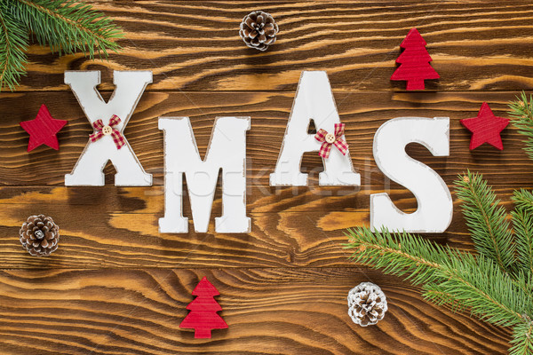 Christmas Wood Decoration in Brown and Red Color with Xmas Tree, Stock photo © x3mwoman