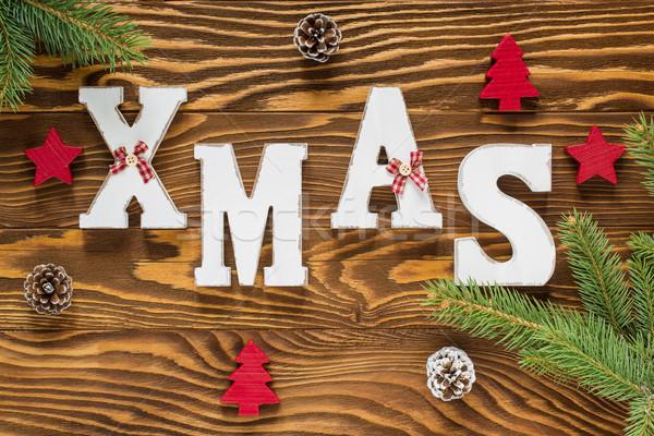Рождества древесины украшение коричневый красный цвета Сток-фото © x3mwoman