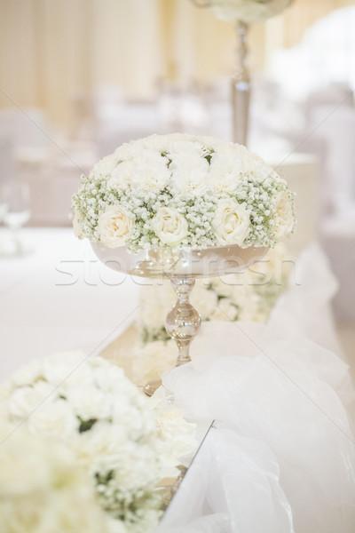 свадьба цветы белый таблице цветок Сток-фото © x3mwoman