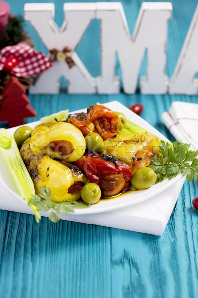 Peynir zeytin soğan maydanoz Stok fotoğraf © x3mwoman