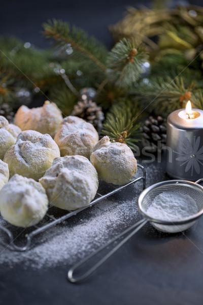 Cookie сахарная пудра черный таблице свечей новых Сток-фото © x3mwoman