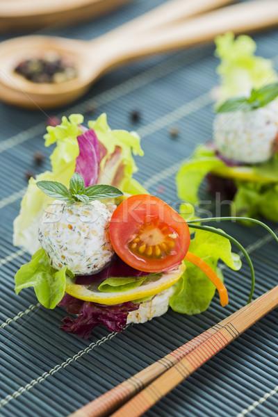 Saludable arroz proteína queso tomate cherry sésamo Foto stock © x3mwoman