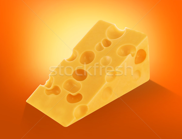 Piece of swiss cheese with holes isolated, chunk cutout Stock photo © xamtiw