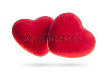 Two velvet hearts isolated on a white background. Stock photo © xamtiw