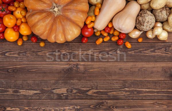 Autumn vegetables background, top view Stock photo © xamtiw