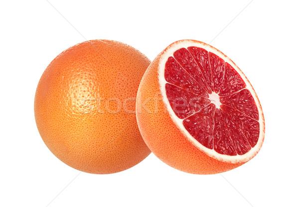 Egész fél rózsaszín izolált fehér grapefruit Stock fotó © xamtiw