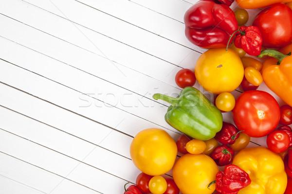 Vegetables on white wooden background, top view Stock photo © xamtiw