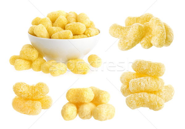 Crunchy corn snacks isolated on white background Stock photo © xamtiw