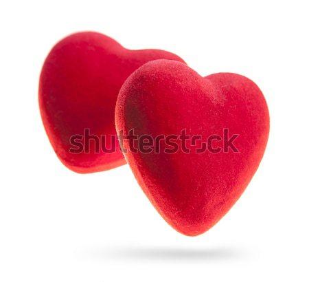 Kırmızı kadife kalpler yalıtılmış beyaz iki Stok fotoğraf © xamtiw
