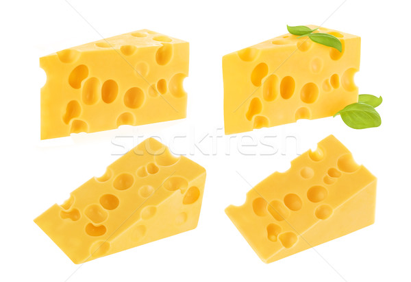 Triangle piece of swiss cheese with holes isolated on white, chunk cutout Stock photo © xamtiw