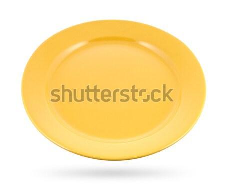yellow plate isolated on white background Stock photo © xamtiw