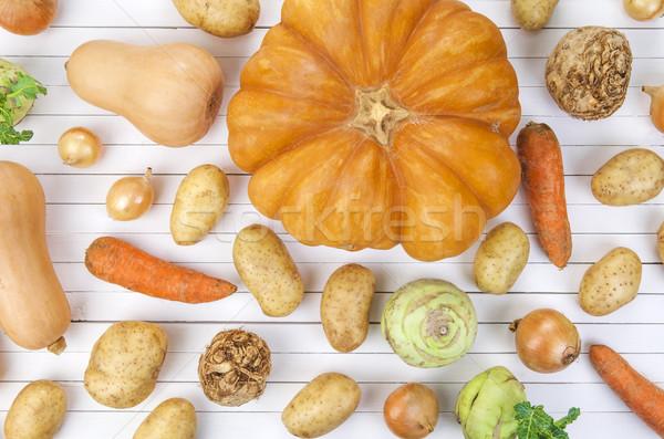 Autumn vegetables on white background Stock photo © xamtiw