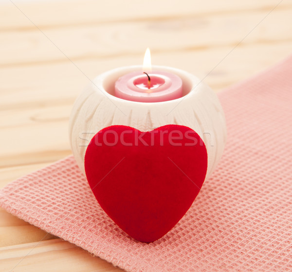 burning candle with red heart Stock photo © xamtiw